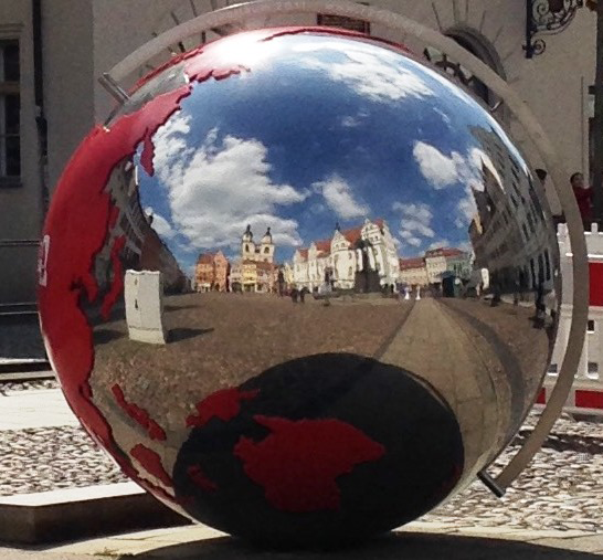 Figure 1: Globe on the Wittenberg Market Square, Germany (photo credit: Barbara M. Reul, 4/2017)